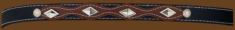 Black & Brown Hatband, Diamond Shaped conchos, adjustable